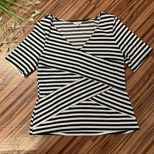 Candies Cross Stripes Black and White Top, Size XL